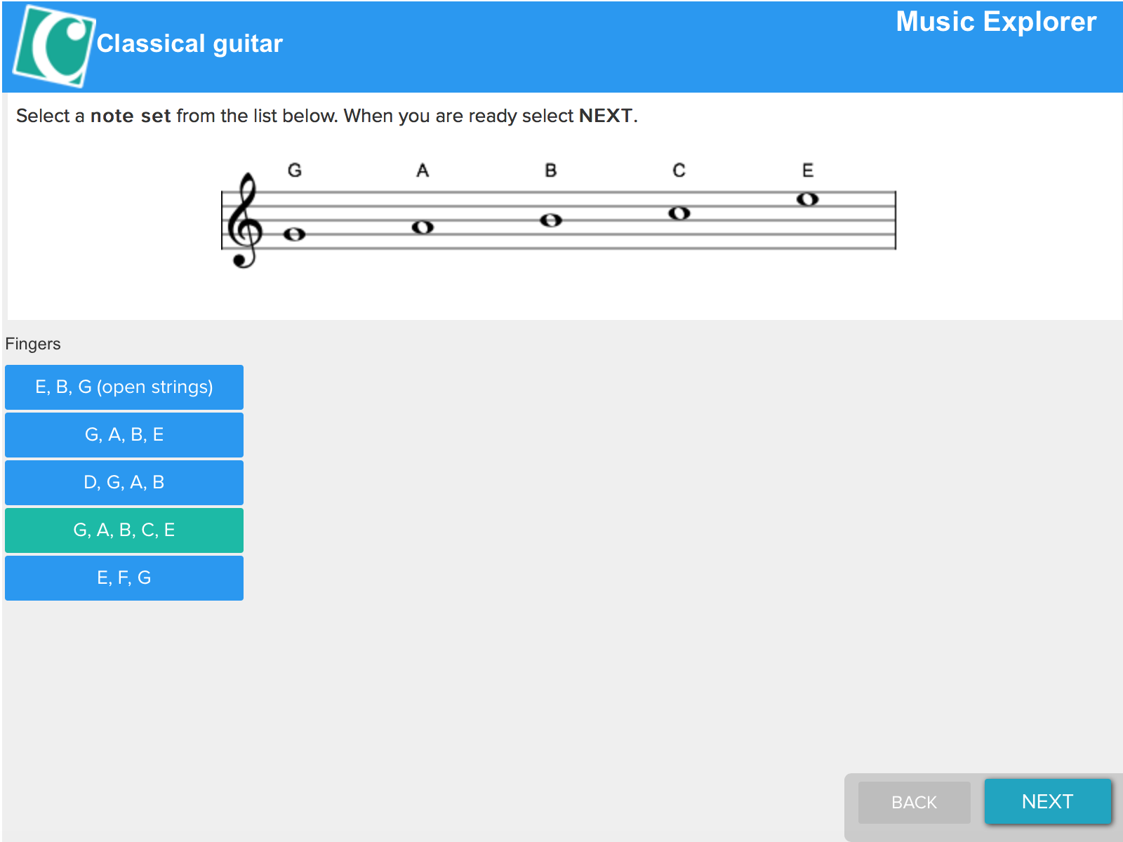 Music Explorer for guitar